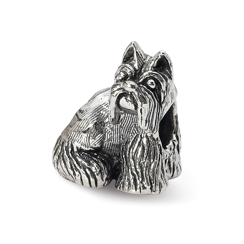Sterling Silver Miniature Schnauzer Bead Charm, Item B10593 by The Black Bow Jewelry Co.
