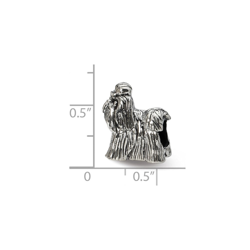 Alternate view of the Sterling Silver 3D Shih Tzu Bead Charm by The Black Bow Jewelry Co.