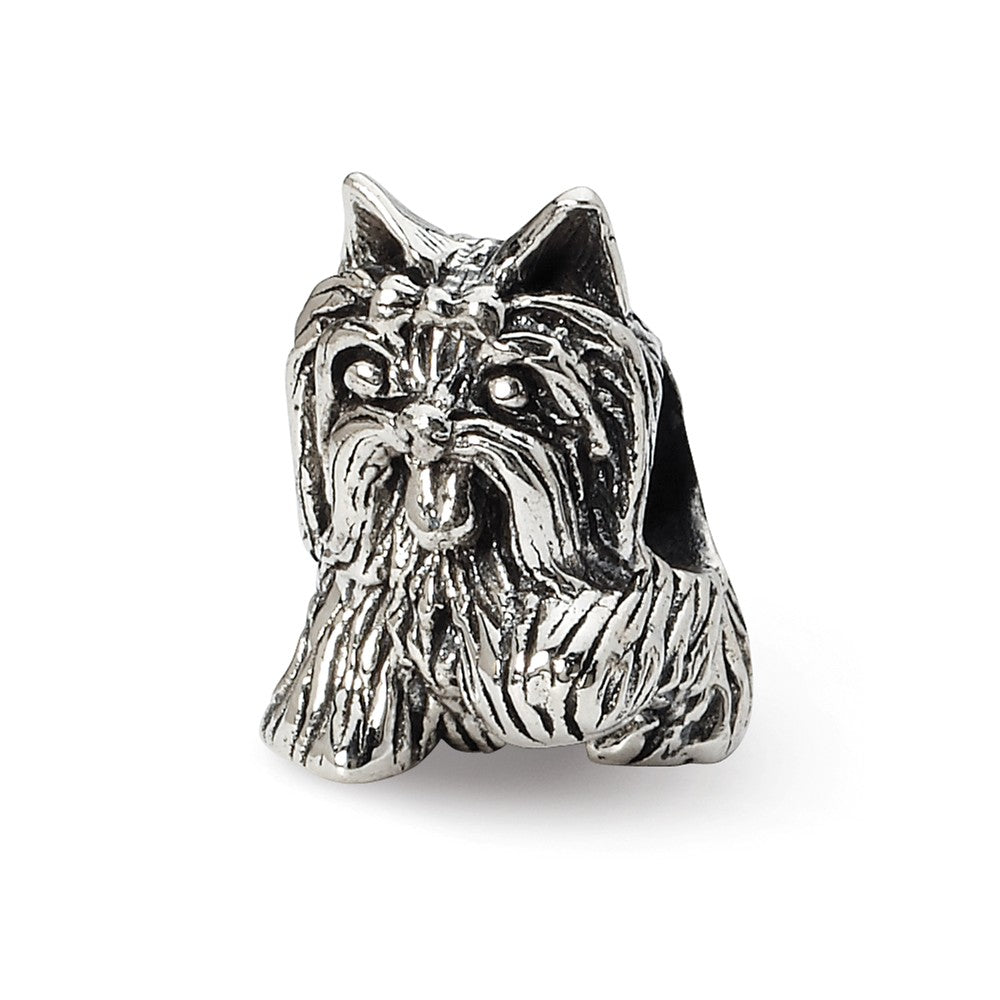 Sterling Silver Yorkshire Terrier Bead Charm, Item B10602 by The Black Bow Jewelry Co.