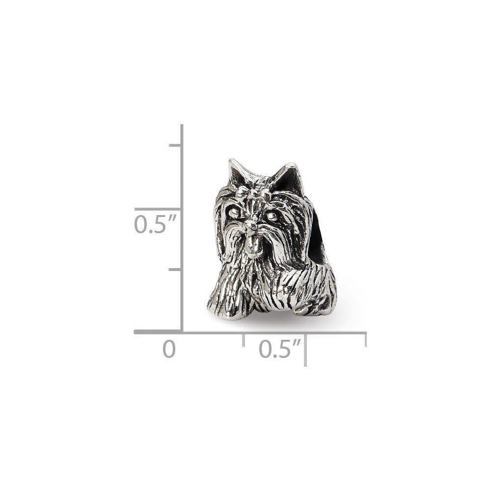 Alternate view of the Sterling Silver Yorkshire Terrier Bead Charm by The Black Bow Jewelry Co.