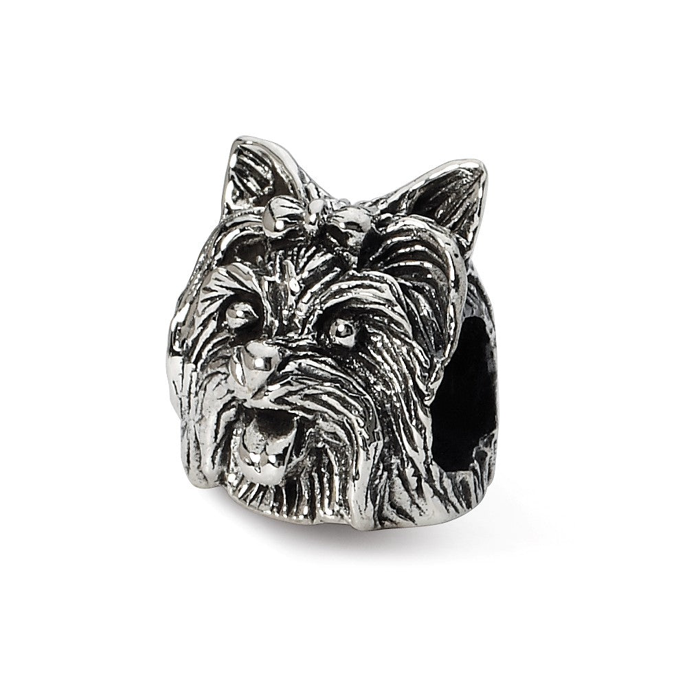 Sterling Silver Yorkshire Terrier Head Bead Charm, Item B10603 by The Black Bow Jewelry Co.