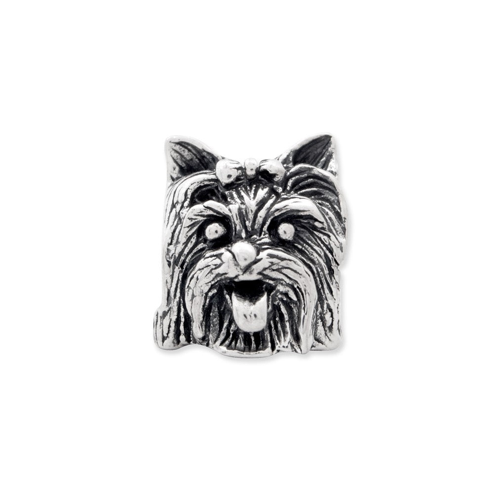 Alternate view of the Sterling Silver Yorkshire Terrier Head Bead Charm by The Black Bow Jewelry Co.