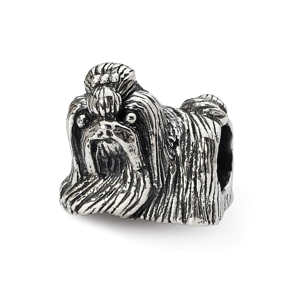 Sterling Silver Shih Tzu Bead Charm, Item B10604 by The Black Bow Jewelry Co.