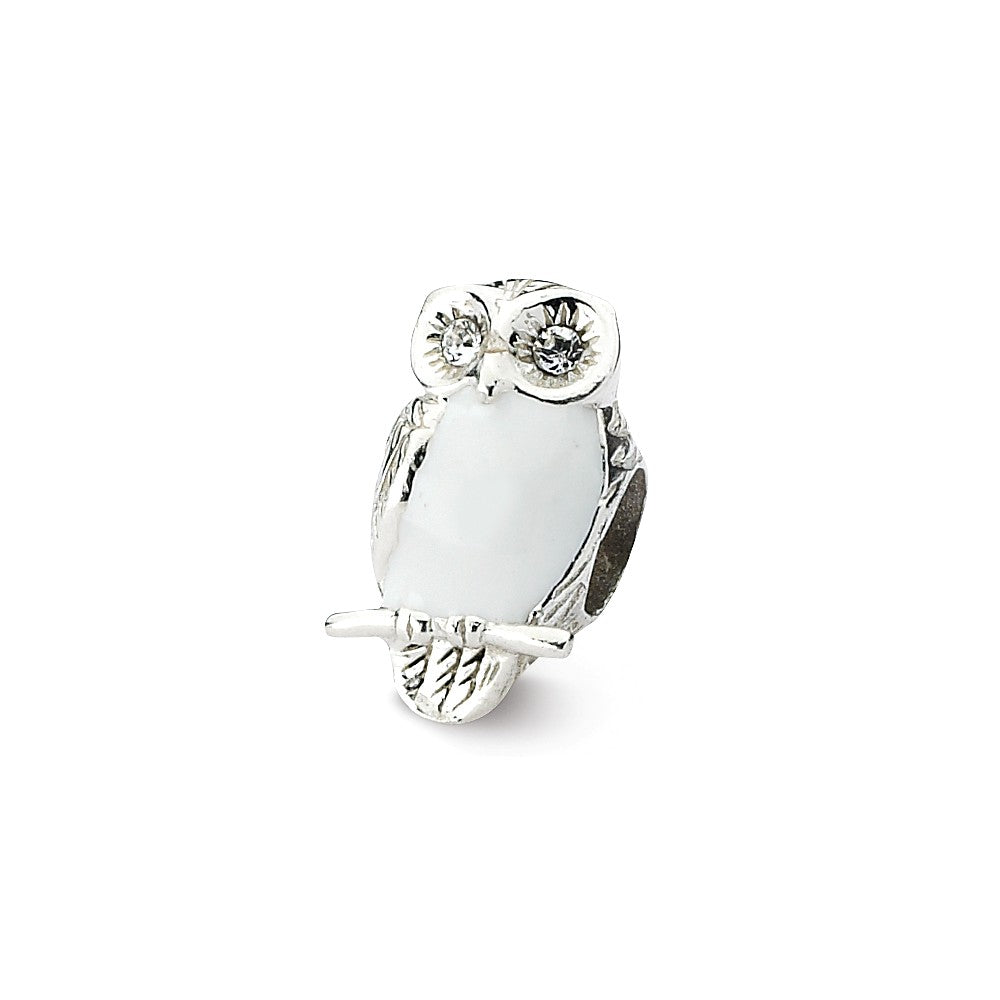 Sterling Silver, CZ and White Enameled Wise Owl Bead Charm, Item B10606 by The Black Bow Jewelry Co.