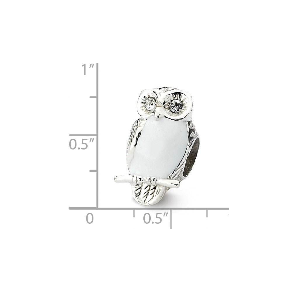 Alternate view of the Sterling Silver, CZ and White Enameled Wise Owl Bead Charm by The Black Bow Jewelry Co.