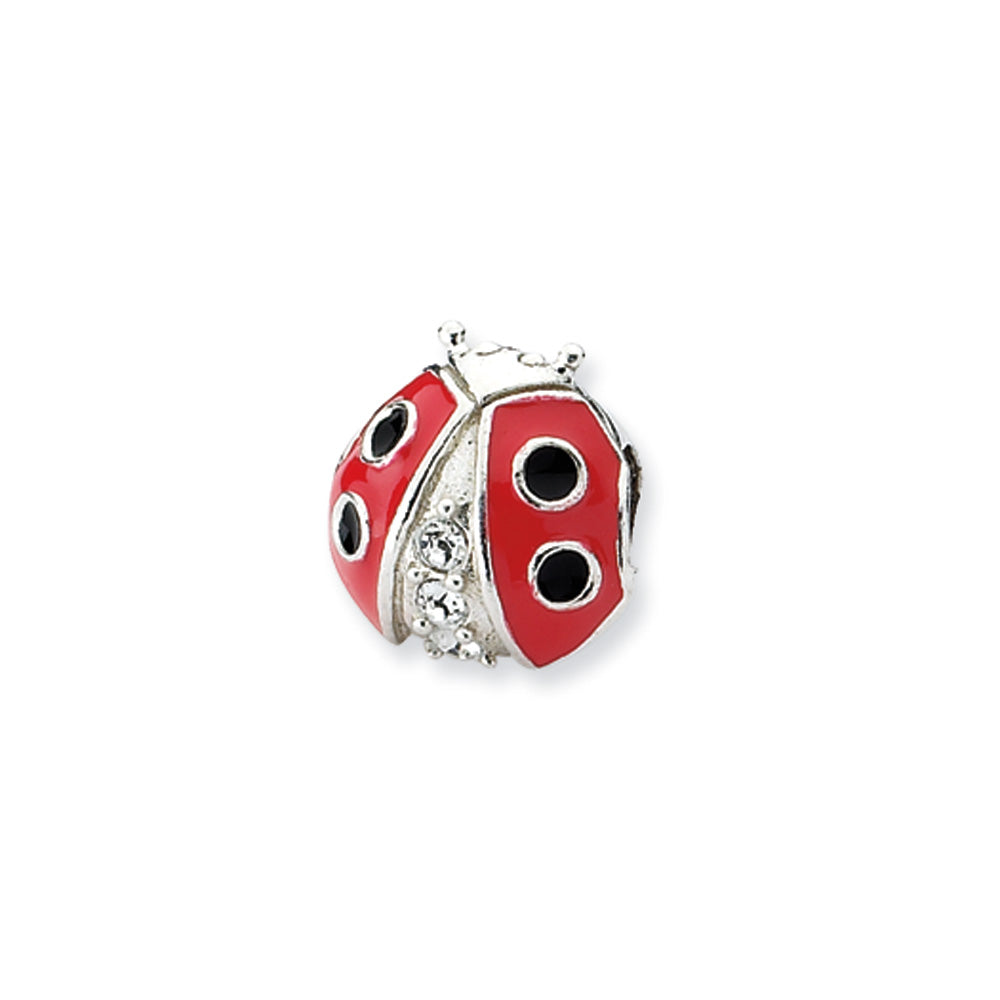 Sterling Silver, CZ and Enameled Ladybug Bead Charm, Item B10614 by The Black Bow Jewelry Co.