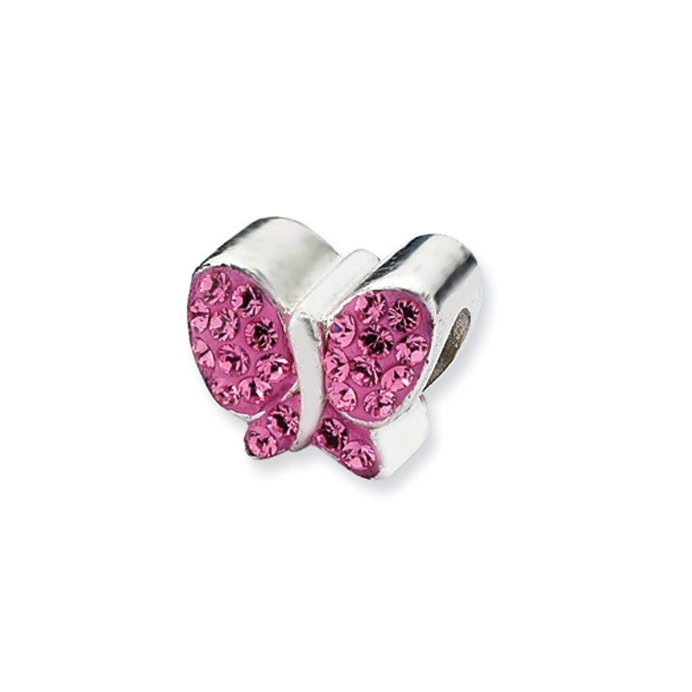 Sterling Silver with Pink Swarovski Crystals Butterfly Bead Charm, Item B10616 by The Black Bow Jewelry Co.