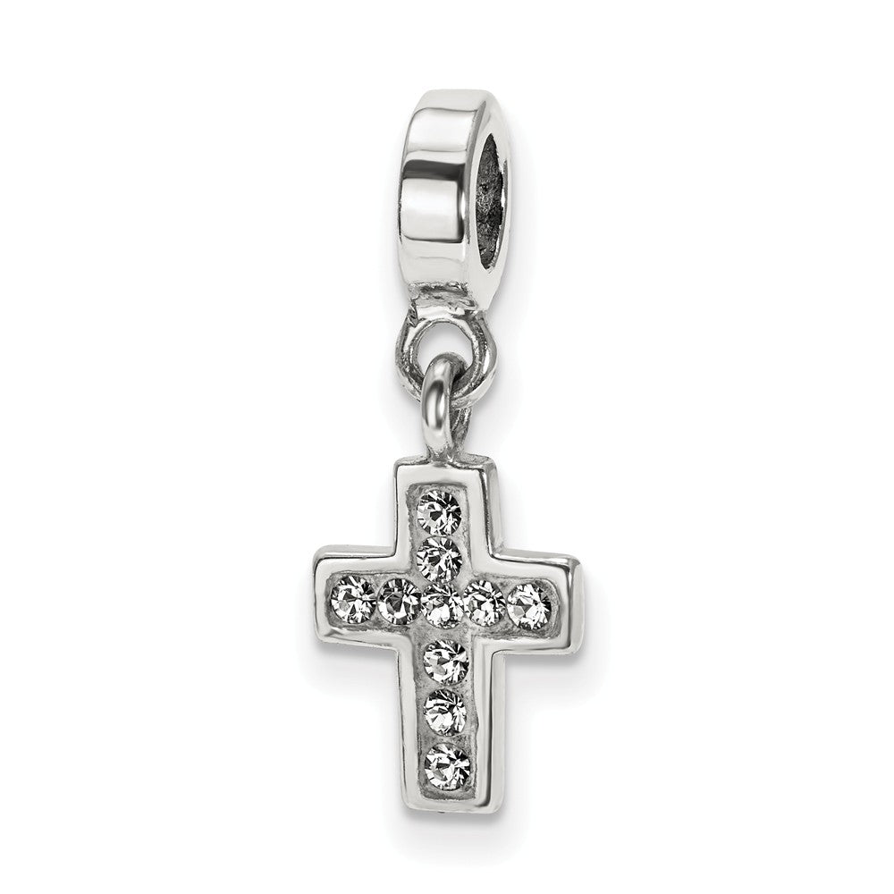 Sterling Silver and Clear Crystal Cross Dangle Bead Charm, Item B10634 by The Black Bow Jewelry Co.