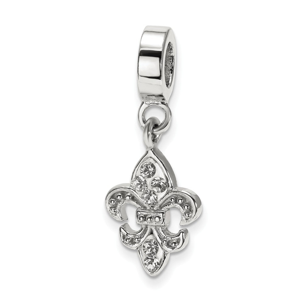 Sterling Silver and Clear Crystal Fleur De Lis Bead Charm, Item B10635 by The Black Bow Jewelry Co.