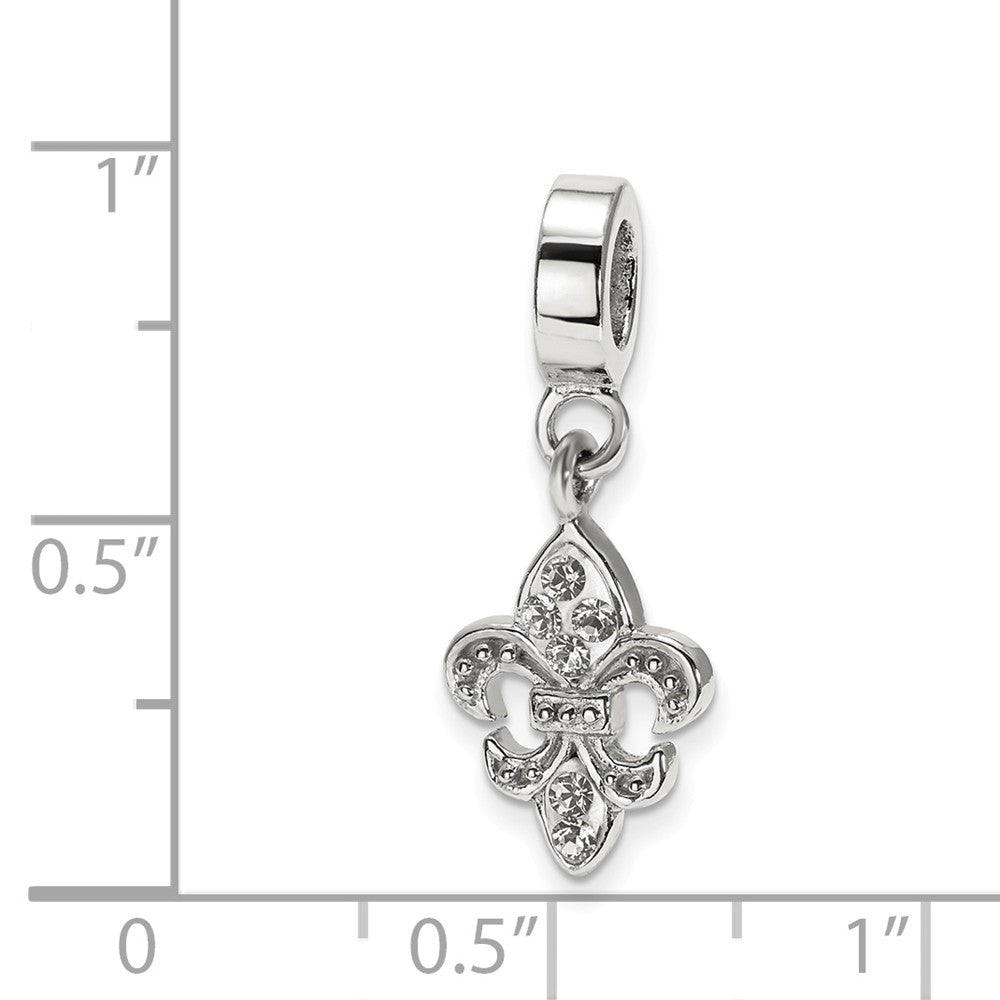 Alternate view of the Sterling Silver and Clear Crystal Fleur De Lis Bead Charm by The Black Bow Jewelry Co.