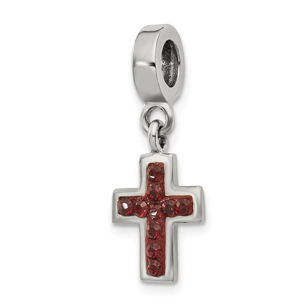 Sterling Silver and Black Crystal Cross Dangle Bead Charm, Item B10636 by The Black Bow Jewelry Co.