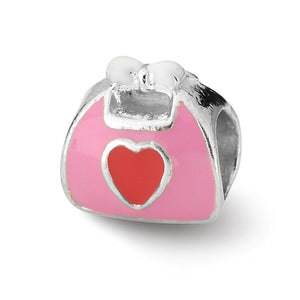 Sterling Silver and Pink Red Enameled Purse Bead Charm