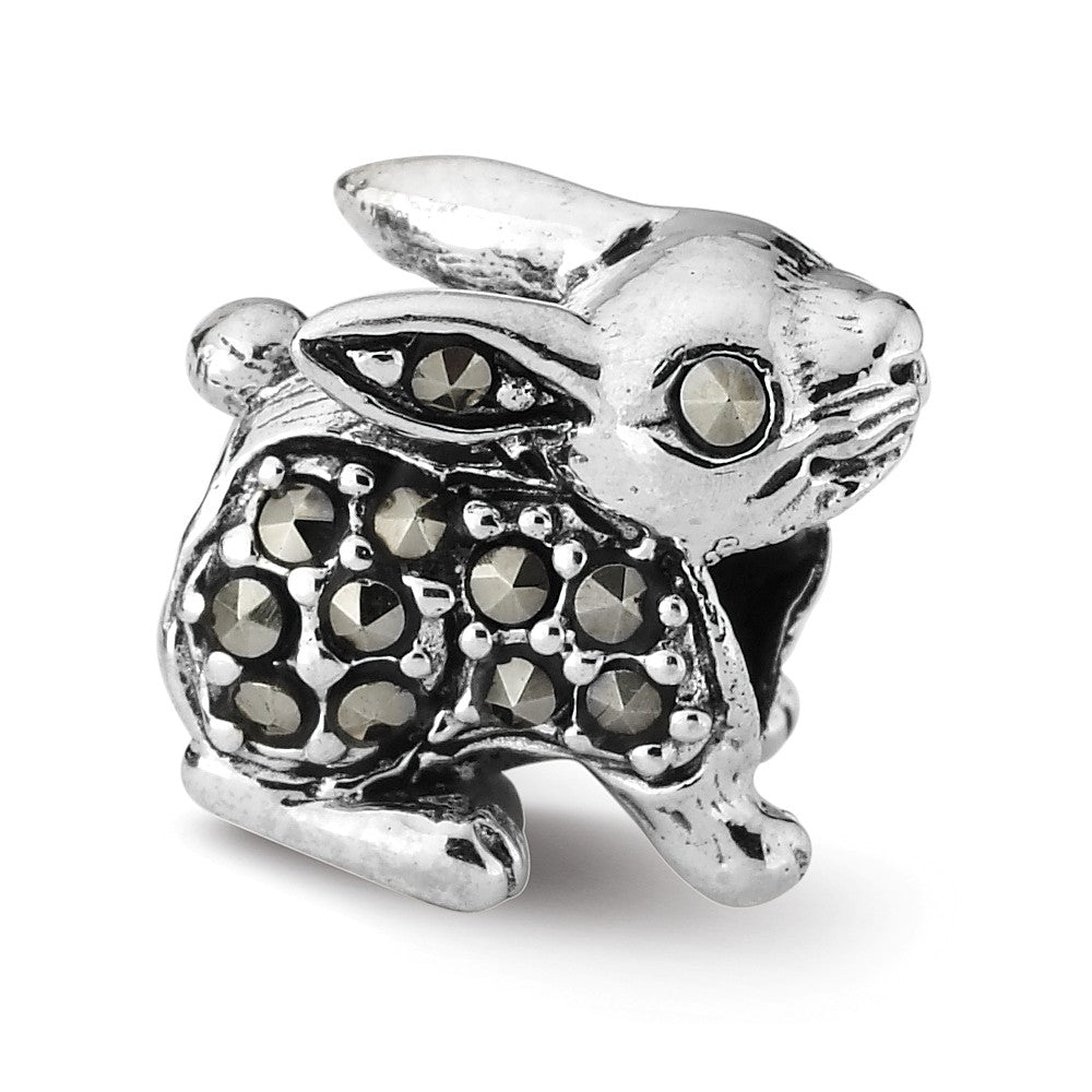 Sterling Silver and Marcasite Rabbit Bead Charm, Item B10648 by The Black Bow Jewelry Co.