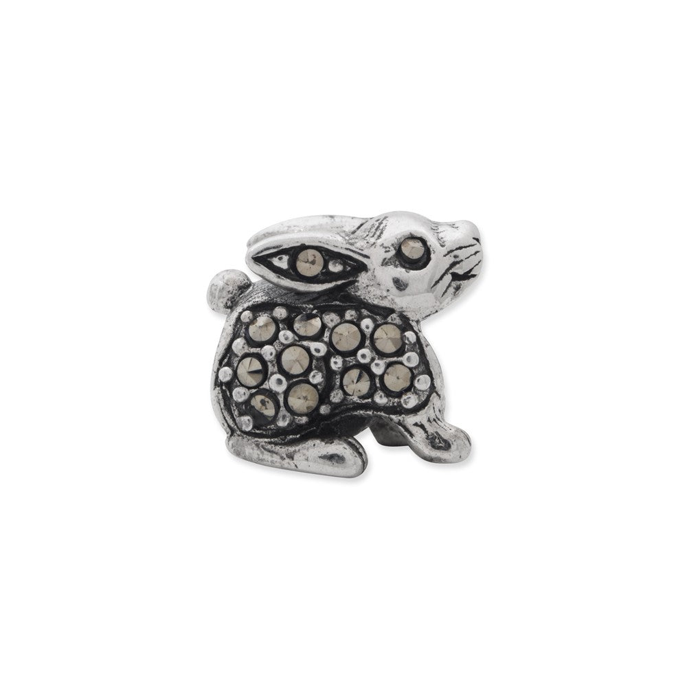 Alternate view of the Sterling Silver and Marcasite Rabbit Bead Charm by The Black Bow Jewelry Co.