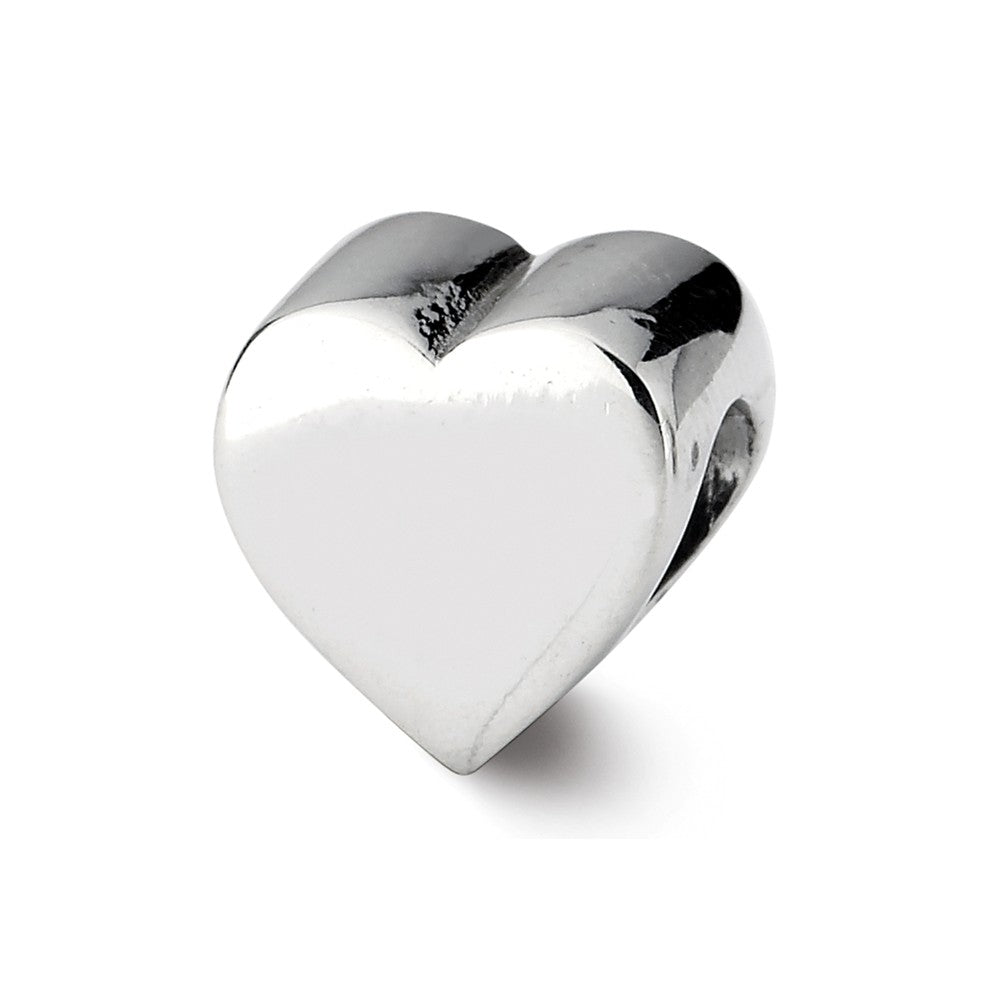 Sterling Silver Heart Shape Bead Charm, Item B10656 by The Black Bow Jewelry Co.