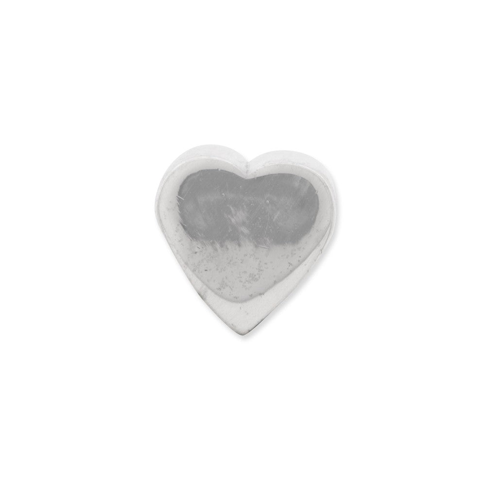 Alternate view of the Sterling Silver Heart Shape Bead Charm by The Black Bow Jewelry Co.