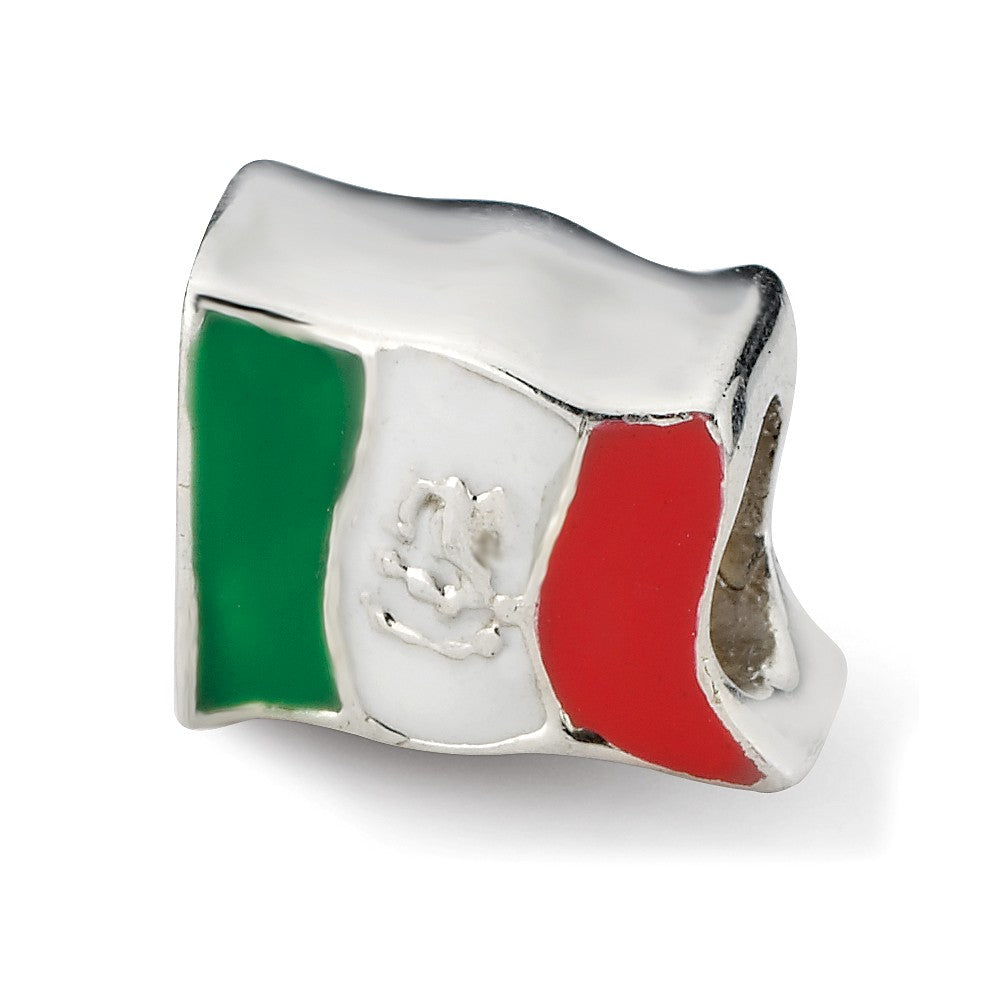 Sterling Silver and Enamel Mexico Flag Bead Charm, Item B10657 by The Black Bow Jewelry Co.