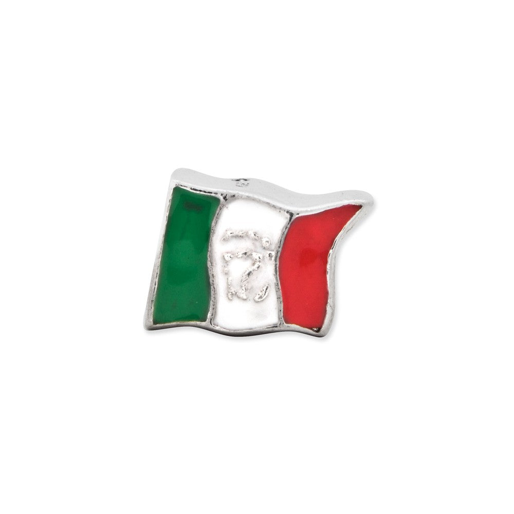 Alternate view of the Sterling Silver and Enamel Mexico Flag Bead Charm by The Black Bow Jewelry Co.