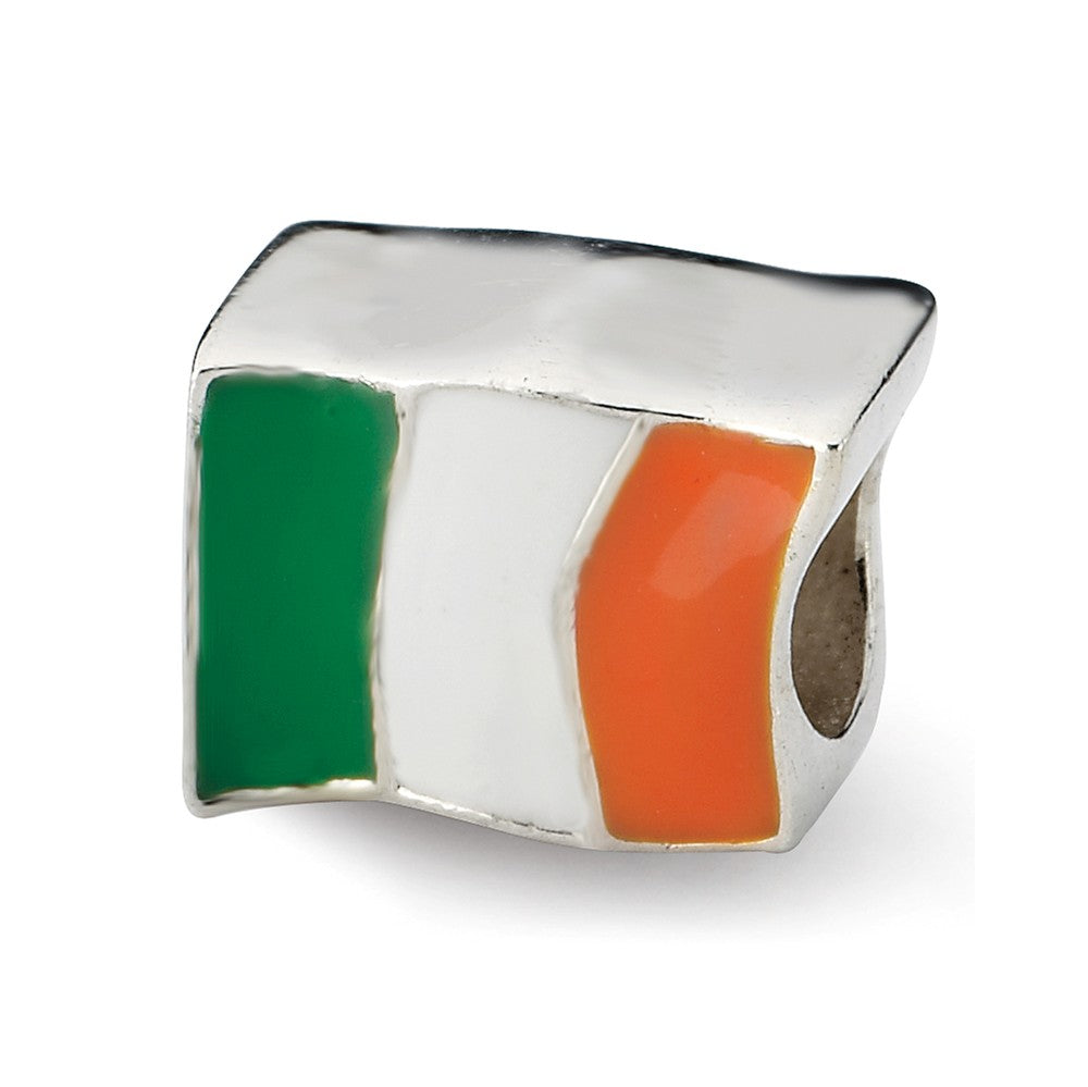 Sterling Silver and Enamel Ireland Flag Bead Charm, Item B10658 by The Black Bow Jewelry Co.