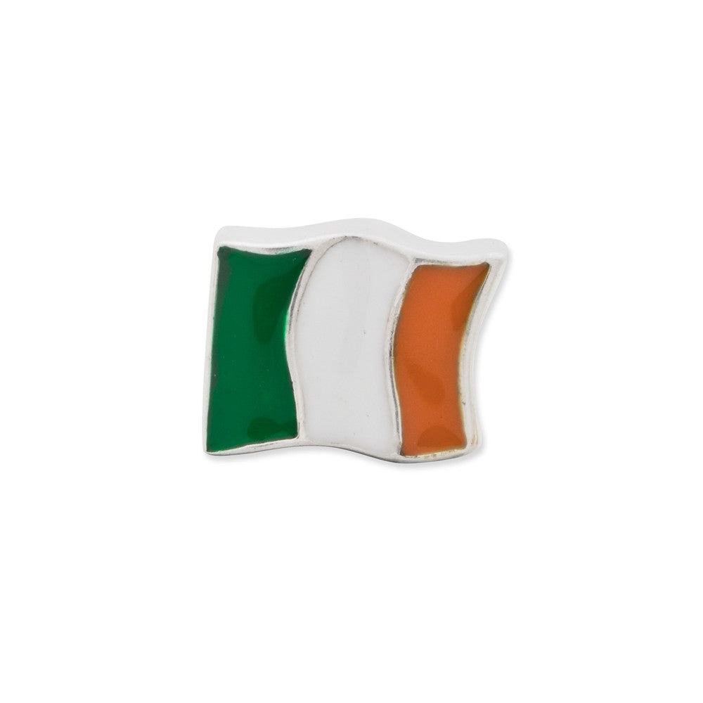 Alternate view of the Sterling Silver and Enamel Ireland Flag Bead Charm by The Black Bow Jewelry Co.