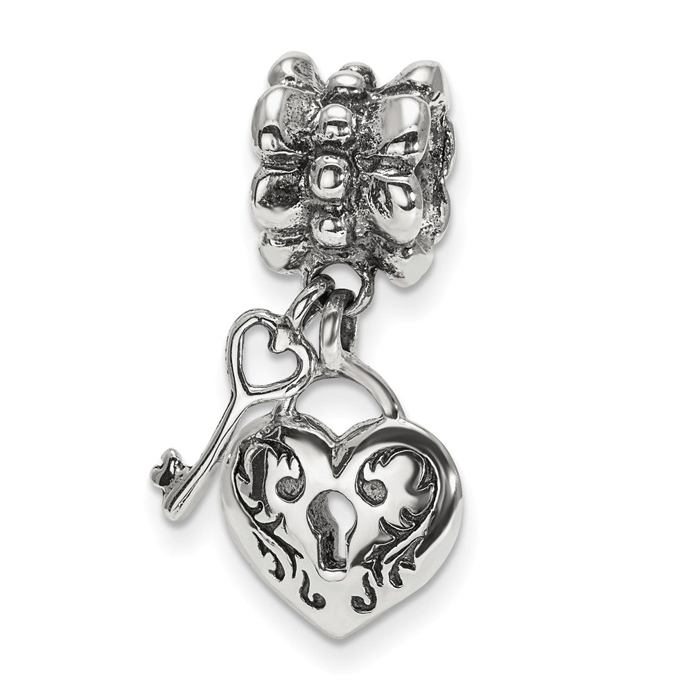 Sterling Silver Heart and Key Dangle Bead Charm, Item B10664 by The Black Bow Jewelry Co.