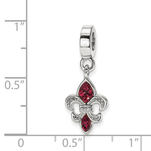 Alternate view of the Sterling Silver Red Crystal Fleur De Lis Dangle Bead Charm by The Black Bow Jewelry Co.