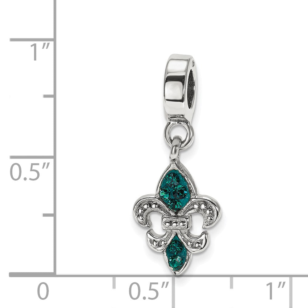 Alternate view of the Sterling Silver Green Crystal Fleur De Lis Bead Charm by The Black Bow Jewelry Co.
