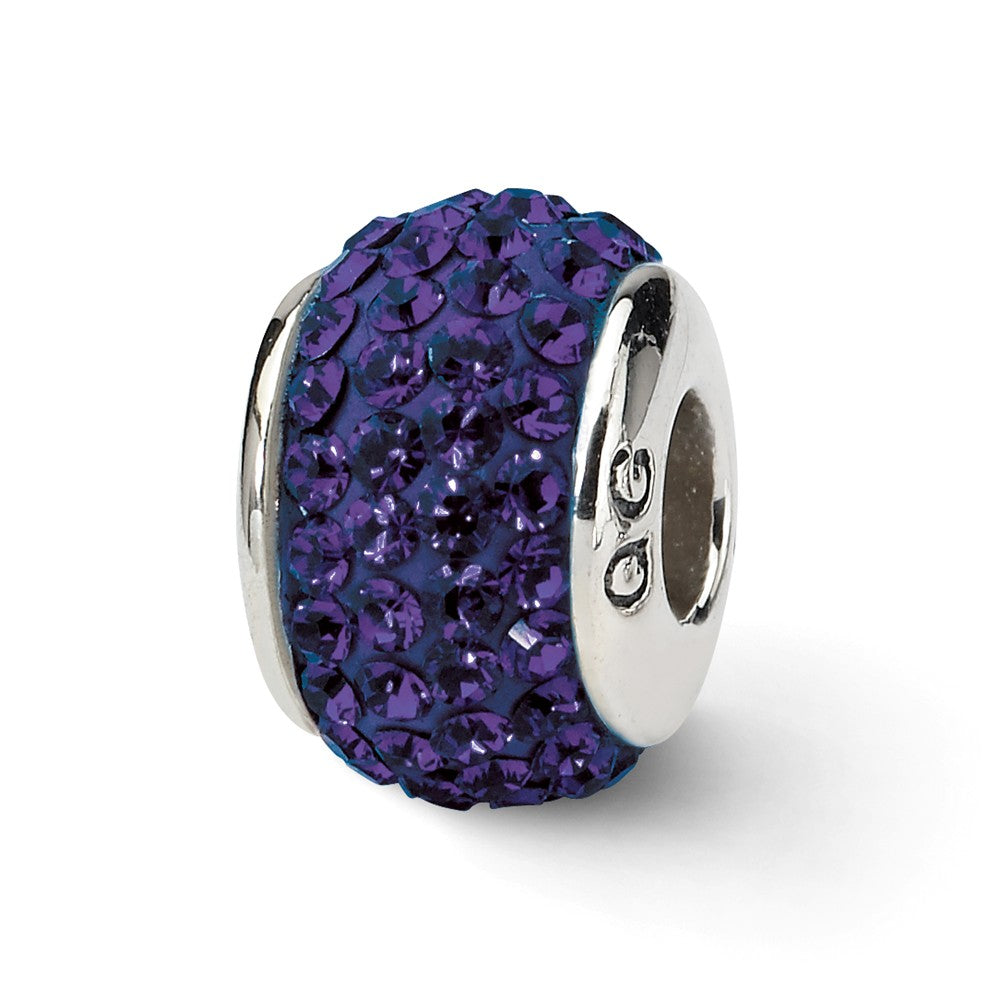 Sterling Silver with Swarovski Crystals Purple Full Bead Charm, 13mm, Item B10704 by The Black Bow Jewelry Co.