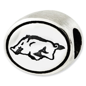 Sterling Silver & Enamel University of Arkansas Collegiate Bead Charm