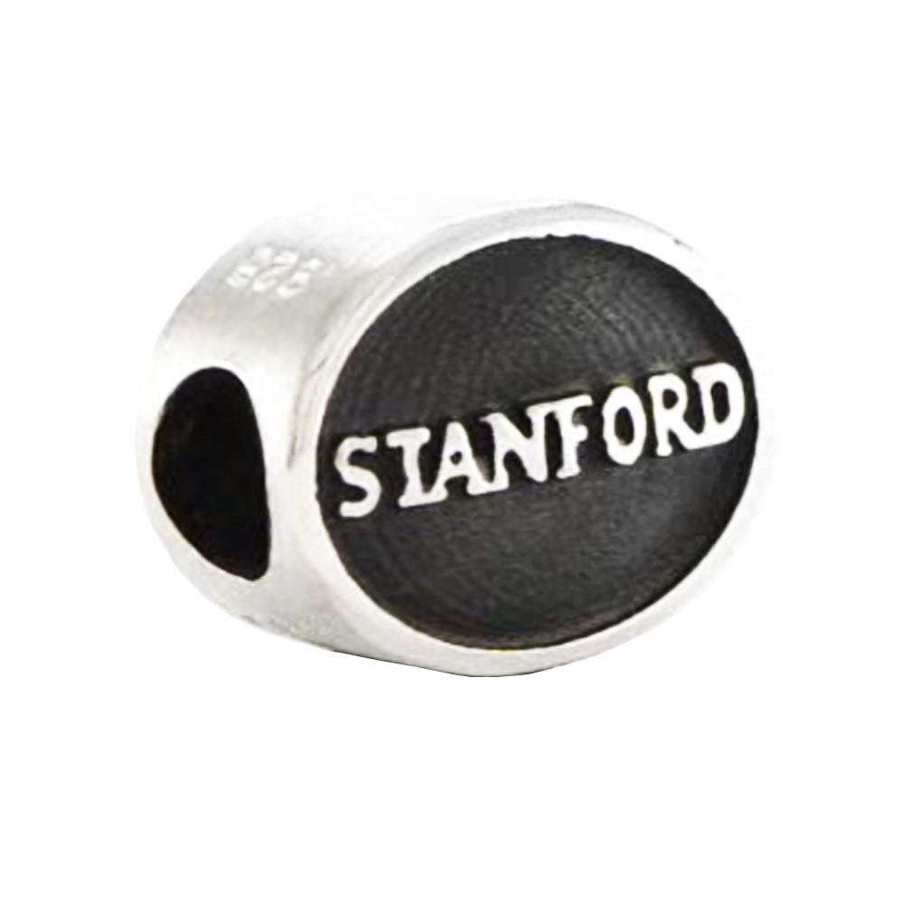Sterling Silver & Enamel Stanford University Collegiate Bead Charm, Item B10795 by The Black Bow Jewelry Co.