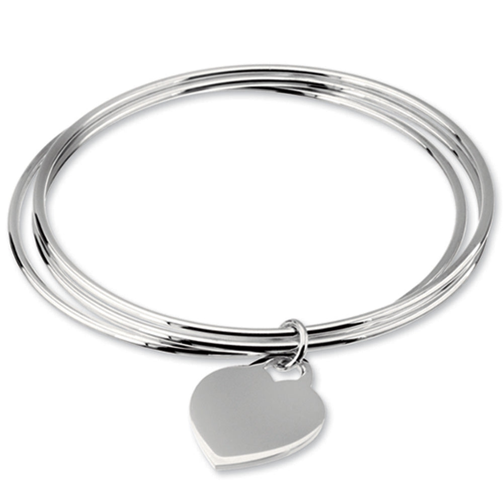 Sterling Silver Triple Bangle with Heart Charm Bracelet, 8 Inch, Item B10858 by The Black Bow Jewelry Co.