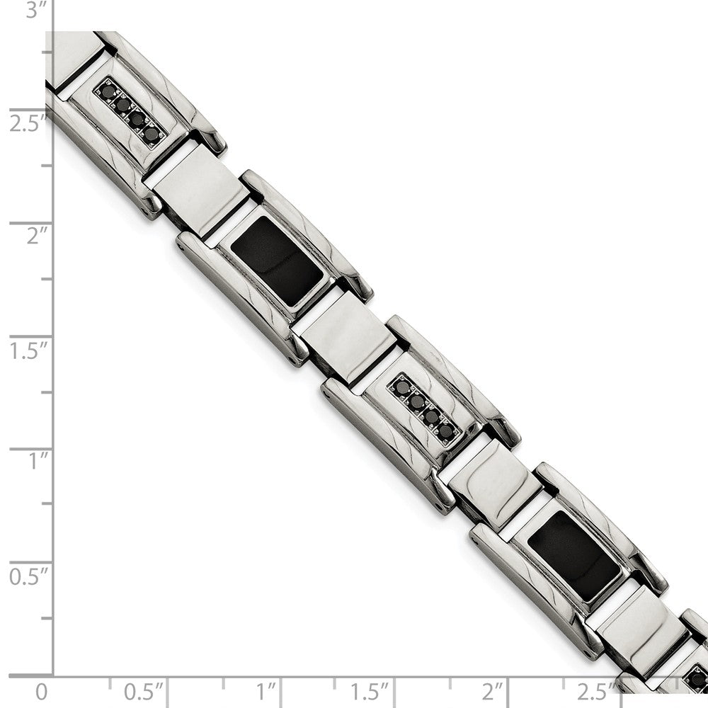 Alternate view of the Men's 11mm Stainless Steel and Black Diamond Bracelet - 8.5 Inch by The Black Bow Jewelry Co.