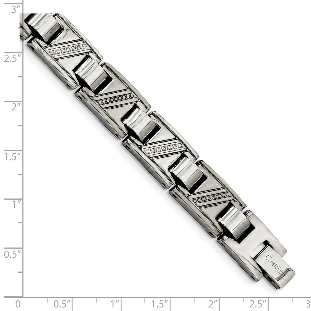 Alternate view of the Men's Stainless Steel and Diamond 8.5 Inch Bracelet by The Black Bow Jewelry Co.