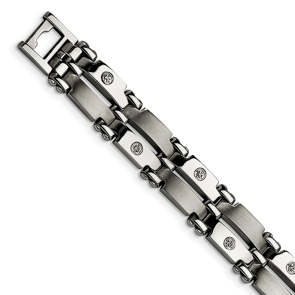 Men's 11mm Stainless Steel and Diamond Bracelet - 8.5 Inch, Item B10921 by The Black Bow Jewelry Co.