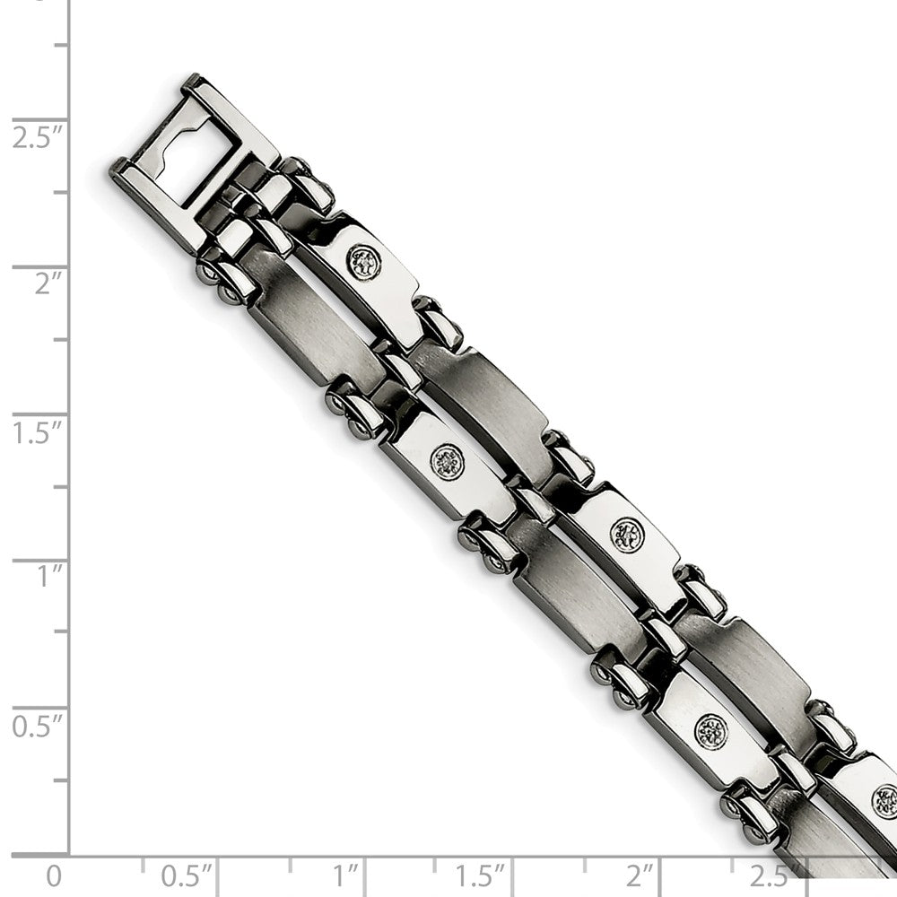 Alternate view of the Men's 11mm Stainless Steel and Diamond Bracelet - 8.5 Inch by The Black Bow Jewelry Co.