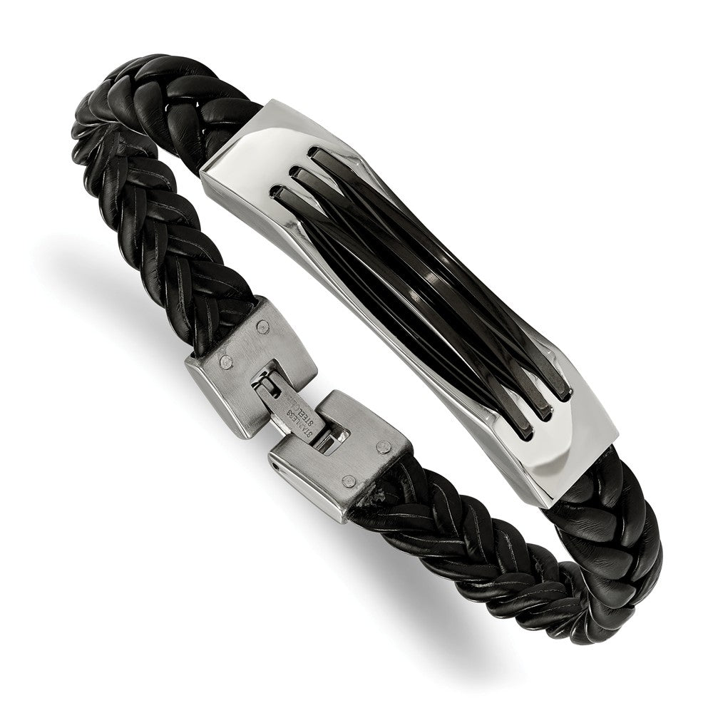 Men's Stainless Steel and Black Leather 8.5 Inch Bracelet, Item B10938 by The Black Bow Jewelry Co.