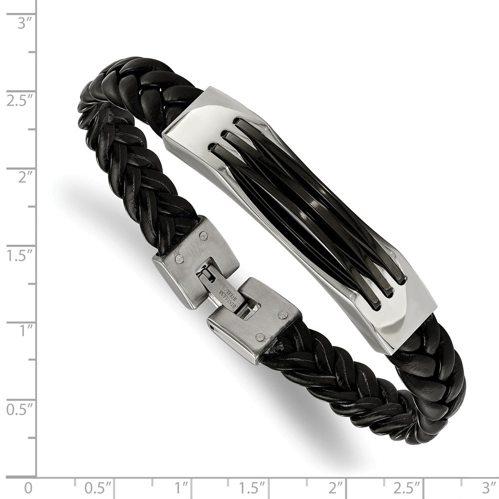 Alternate view of the Men's Stainless Steel and Black Leather 8.5 Inch Bracelet by The Black Bow Jewelry Co.