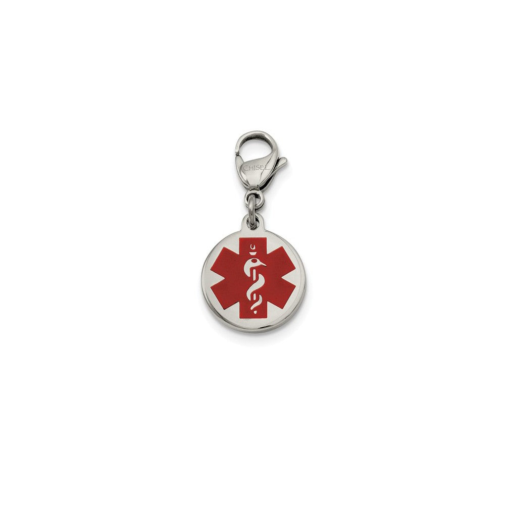 Stainless Steel Red Enamel Medical Jewelry Clip On Charm, 18mm, Item B11013 by The Black Bow Jewelry Co.