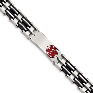 Men's Stainless Steel Black Rubber 8.25 Inch Medical I.D. Bracelet - The Black Bow Jewelry Co.