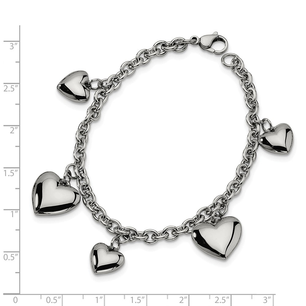 Alternate view of the Stainless Steel Puffed Hearts Charm Bracelet, 8 Inch by The Black Bow Jewelry Co.