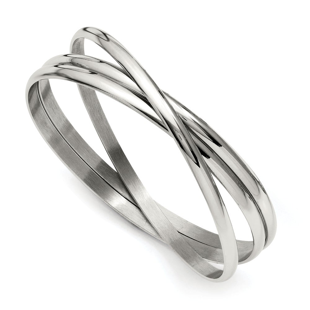 Stainless Steel 3 Piece Intertwined Bangle Bracelet, Item B11038 by The Black Bow Jewelry Co.
