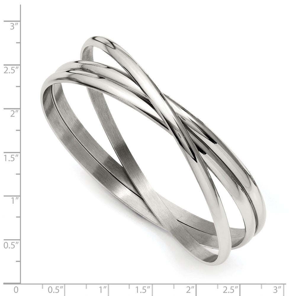 Alternate view of the Stainless Steel 3 Piece Intertwined Bangle Bracelet by The Black Bow Jewelry Co.
