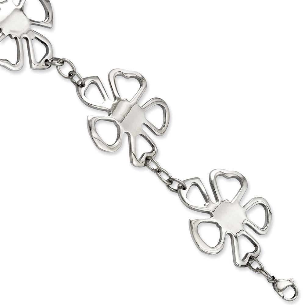 Stainless Steel Polished Flowers Bracelet, 8 Inch, Item B11045 by The Black Bow Jewelry Co.