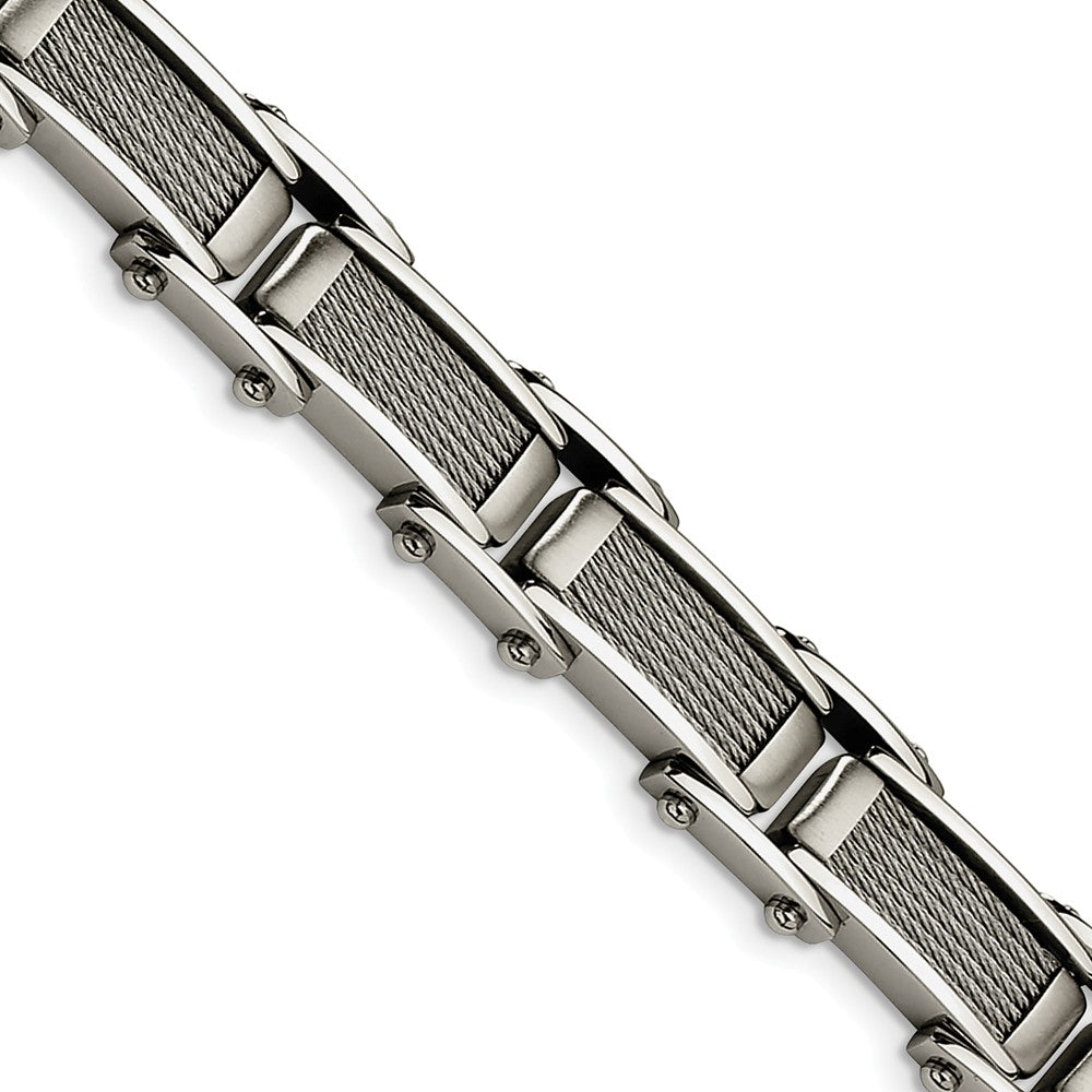 Men's Stainless Steel Brushed and Polished Cable Bracelet - 8.5 Inch, Item B11095 by The Black Bow Jewelry Co.