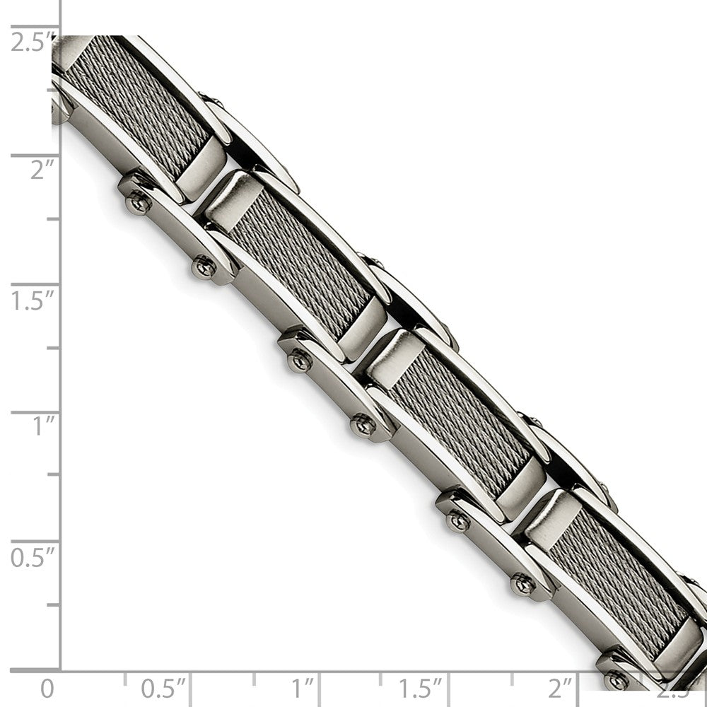 Alternate view of the Men's Stainless Steel Brushed and Polished Cable Bracelet - 8.5 Inch by The Black Bow Jewelry Co.