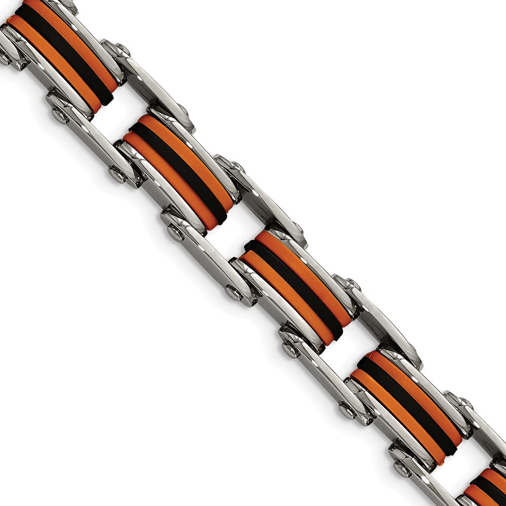 Men's Stainless Steel Orange and Black Rubber Bracelet - 8.75 Inch, Item B11113 by The Black Bow Jewelry Co.