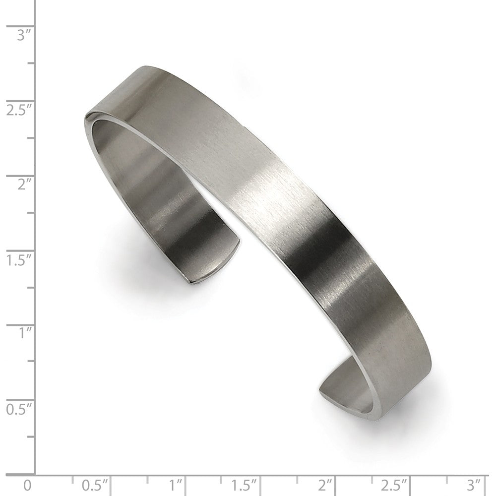 Alternate view of the Unisex Stainless Steel Brushed Cuff Bangle Bracelet by The Black Bow Jewelry Co.