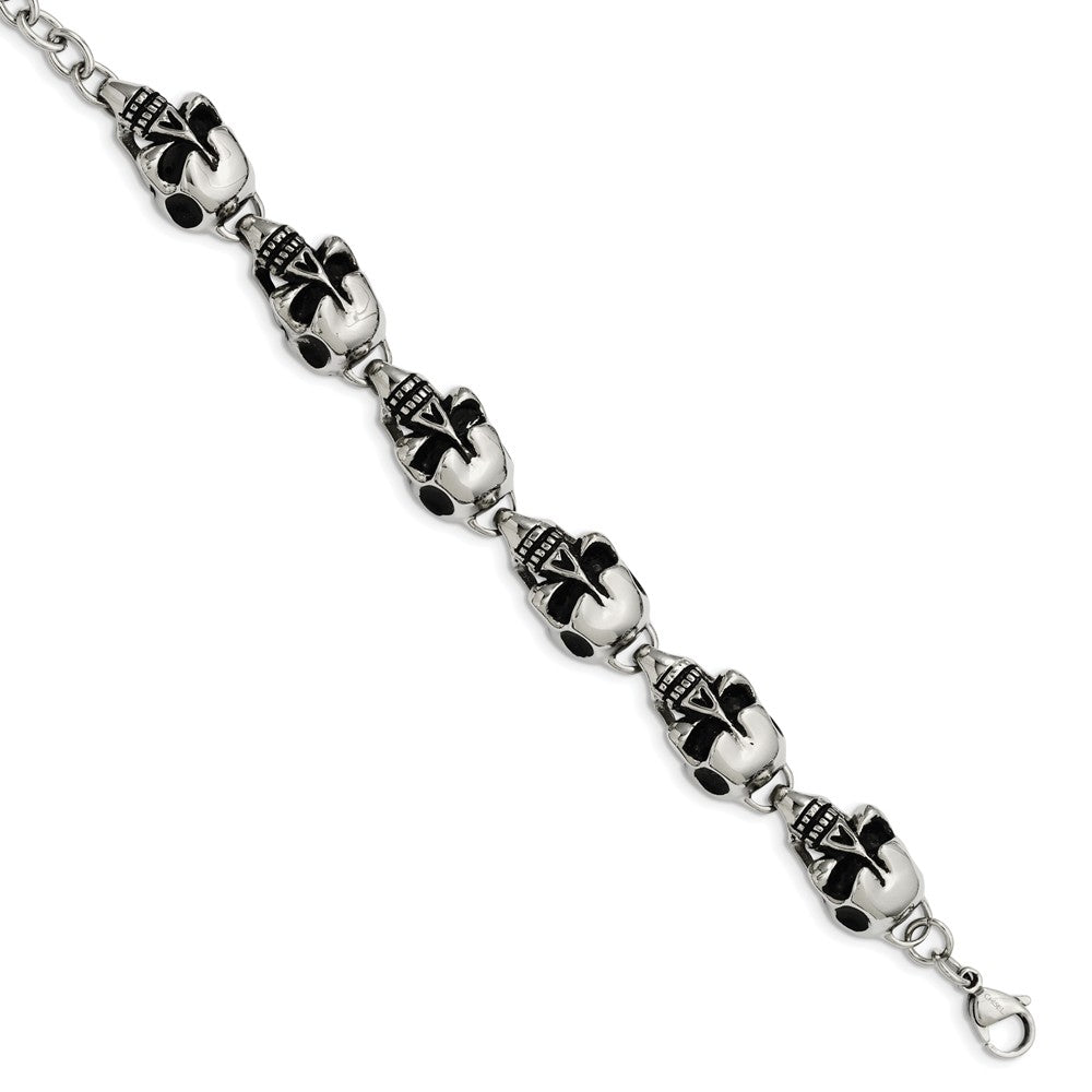 Alternate view of the Men's Stainless Steel Antiqued Skulls Bracelet - 8.5 Inch by The Black Bow Jewelry Co.