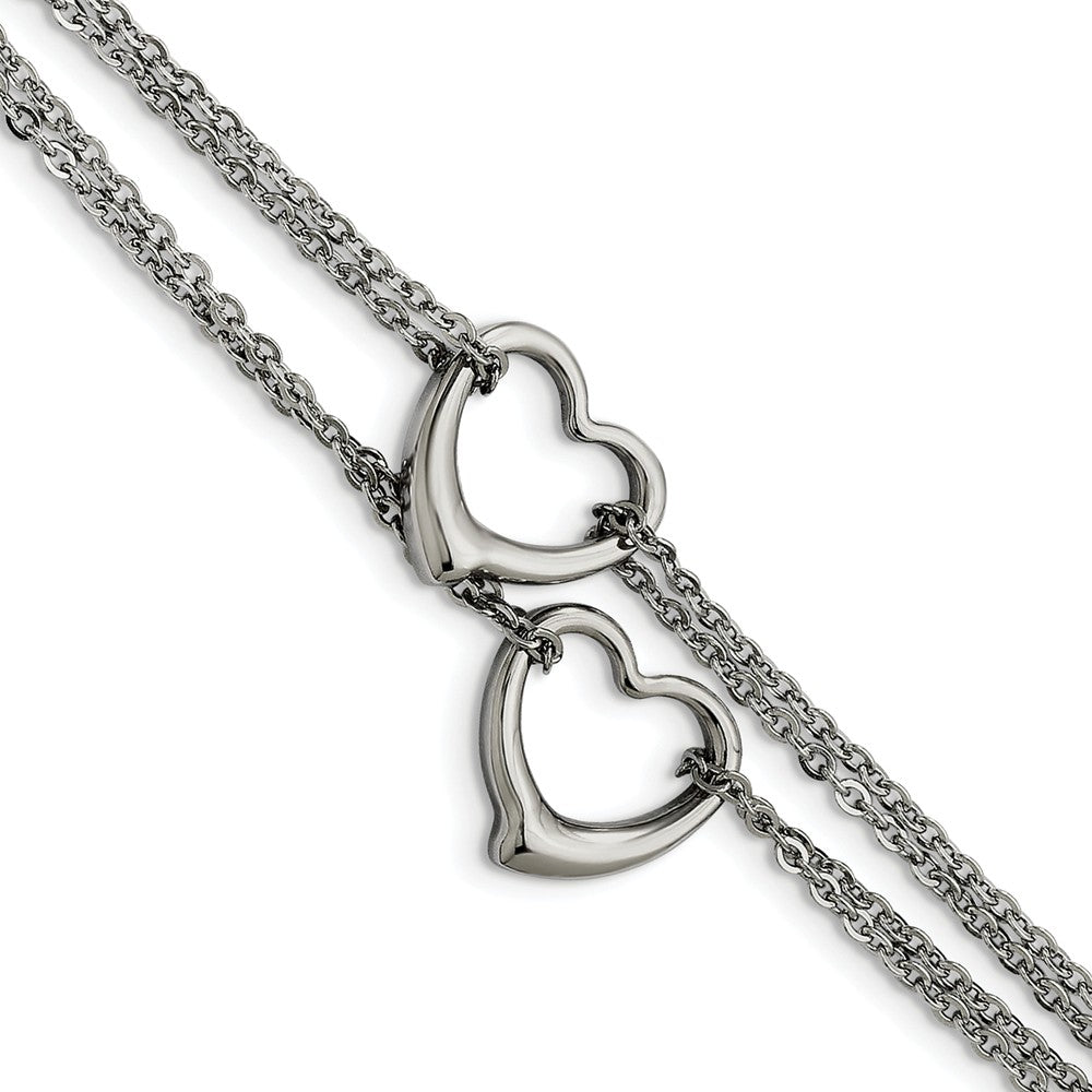 Stainless Steel Double Open Hearts Bracelet, 7 Inch, Item B11146 by The Black Bow Jewelry Co.