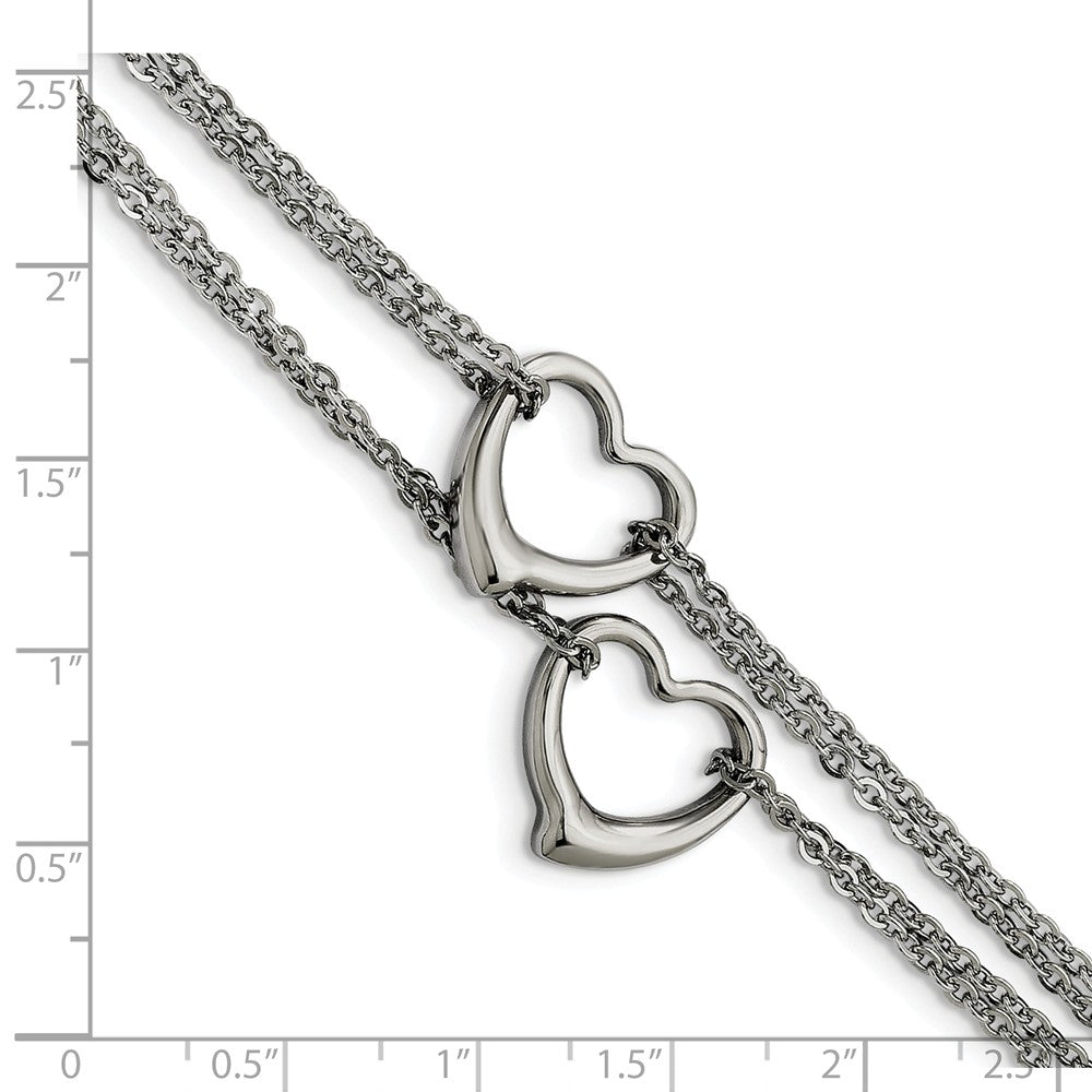 Alternate view of the Stainless Steel Double Open Hearts Bracelet, 7 Inch by The Black Bow Jewelry Co.